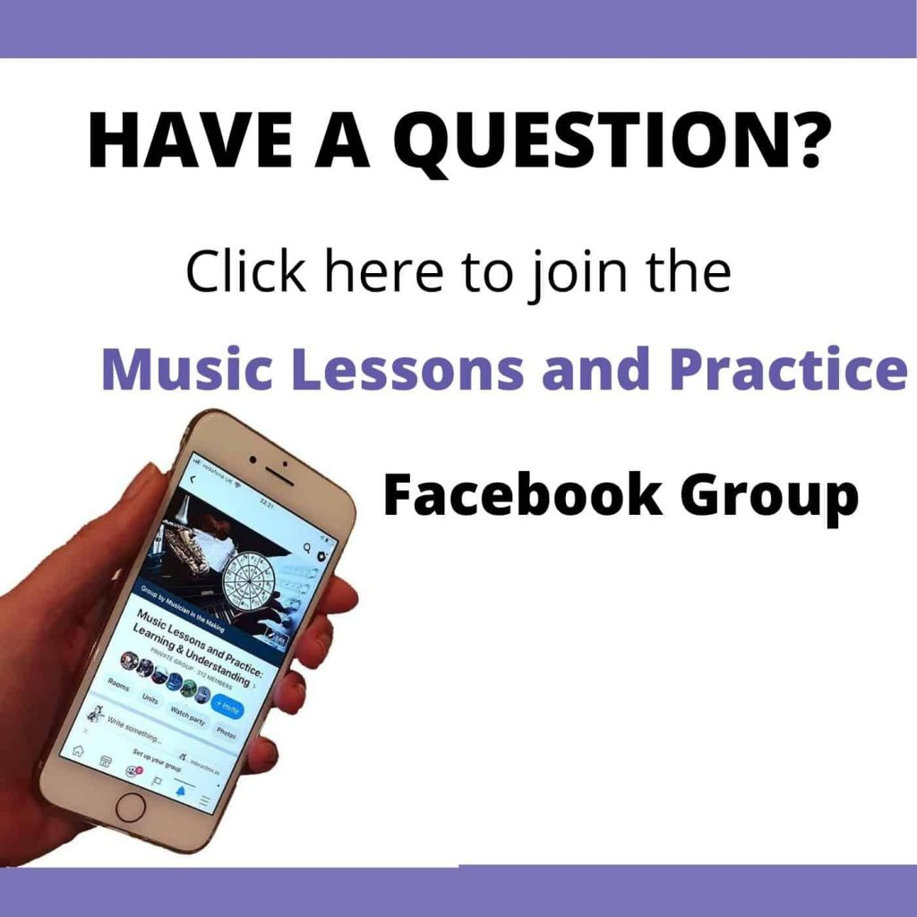 Image of mobile phone with link to music lessons and practice Facebook Group