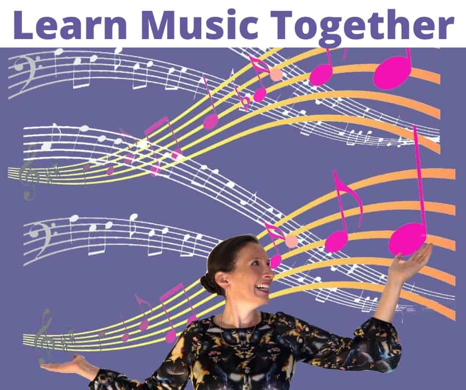 An image of Fiona with the words Learn Music Together